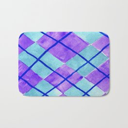 Hand Painted Classic Argyle Pattern Purple Aqua Bath Mat