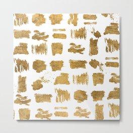 Elegant modern chic gold artsy brushstrokes Metal Print