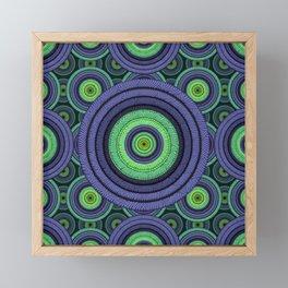 Back to 70's, blue & green Framed Mini Art Print
