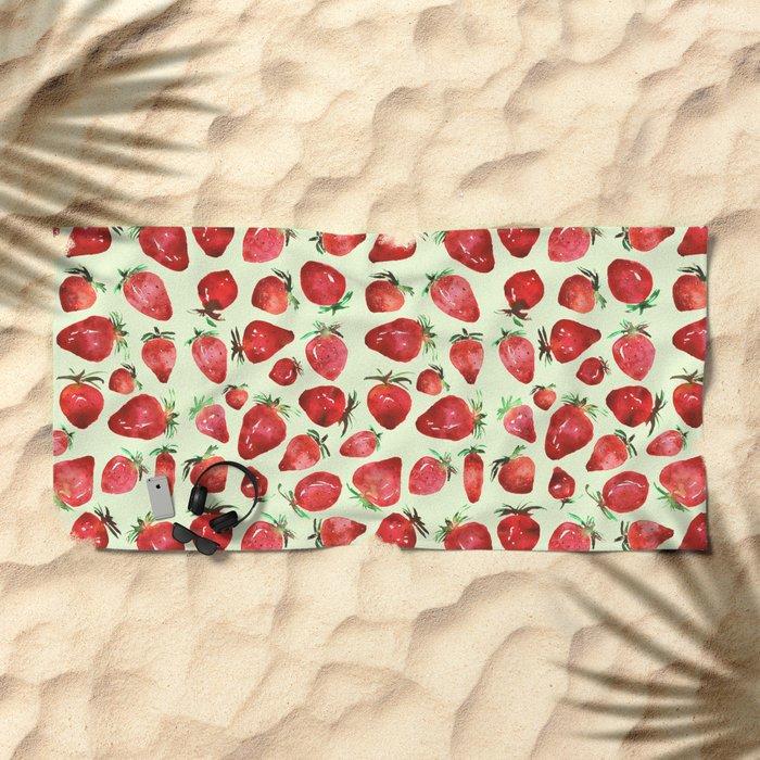 Strawberry vibes Beach Towel