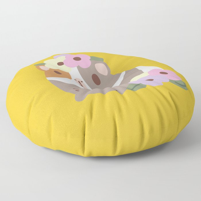 Guinea pig and flowers Floor Pillow