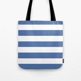 Blue yonder - solid color - white stripes pattern Tote Bag