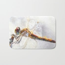 Platinum White Dragonfly Watercolor Bath Mat