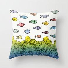 Underwater village II Throw Pillow