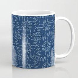 Floral leaf motif sashiko style japanese needlework pattern. Coffee Mug