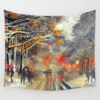 takmaj Wall Tapestries featuring WINTER IN THE CITY by takmaj