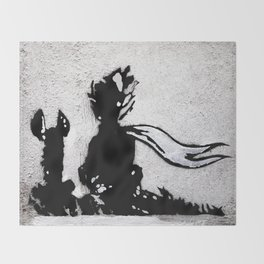 The little prince and the fox - stencil for the LIFE CURRENT WALL series Throw Blanket