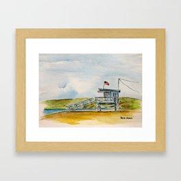 Santa Monica Beach - Lifeguard Tower #8 Framed Art Print