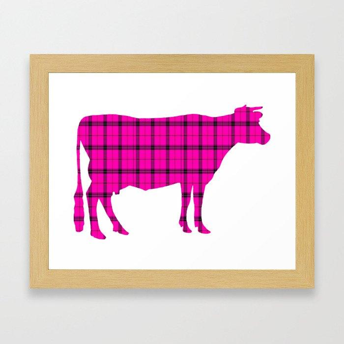 Cow: Pink Plaid Framed Art Print