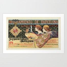 Vintage Art Nouveau expo Barcelona 1896 Art Print