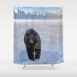 Animal Tracks - Black Bear in Snow Shower Curtain