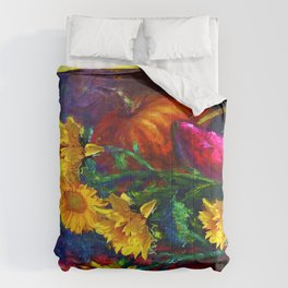 Sunflowers & fruit Fall Still Life Painting Comforters