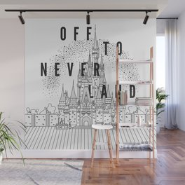 Off to Neverland: Black & White Wall Mural