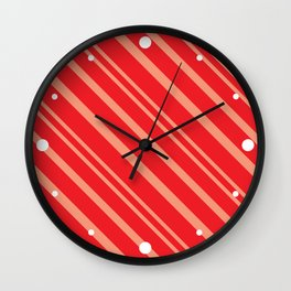 Modern Red & Gold Stripey Pattern Wall Clock