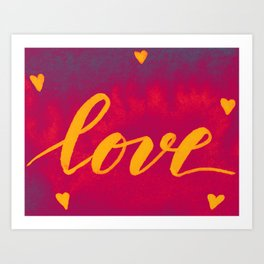 Valentine's Day Watercolor Love – magenta and yellow Art Print