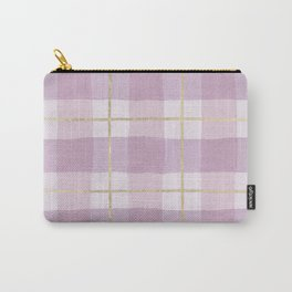Girly pink lavender gold watercolor plaid pattern Carry-All Pouch