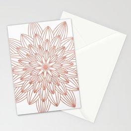 Rose Gold Mandala Flower on White IV Stationery Cards