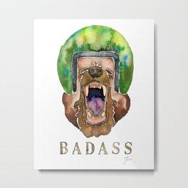 Yawning Badass Bear Metal Print