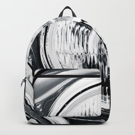 Headlight Of A Vintage Car Black White Backpack