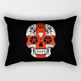 Sugar Skull with Roses and Flag of England Rectangular Pillow