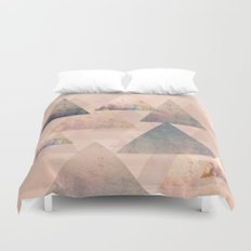 Pastel Abstract Textured Triangle Design Duvet Cover