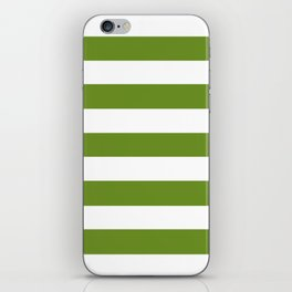 Olive Drab (#3) - solid color - white stripes pattern iPhone Skin