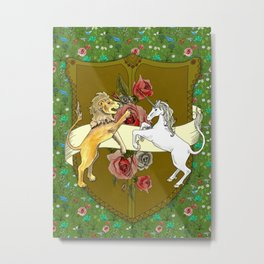 Unicorn Tapestry: the Lion and the Unicorn Metal Print