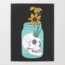 Skull in Jar with Flowers Poster