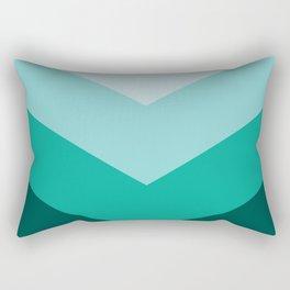 Green Teal Chevron Stripes Rectangular Pillow