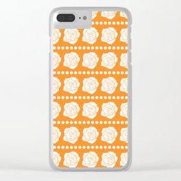 Simple White Roses - Orange BG Clear iPhone Case