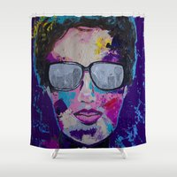 sunglasses Shower Curtains featuring Sunglasses by Wendistry