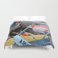 work hard Duvet Covers featuring Hard Work by Manford Holmes