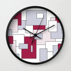 Squares - gray, purple, gray and white. Wall Clock