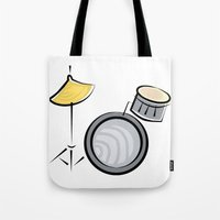 drum Tote Bags featuring Drum Set by shopaholic chick