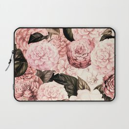 Vintage & Shabby Chic Pink Floral camellia flowers watercolor pattern Laptop Sleeve