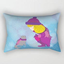 Lara with cat - Christmas Rectangular Pillow