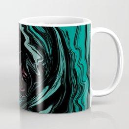 Pink, Teal, Turquoise and Black Abstract Art, Digital Fluid Art Blend Coffee Mug