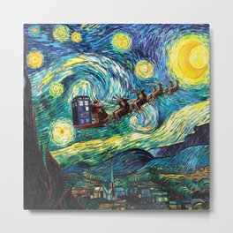 Tardis Santa Starry Night Metal Print