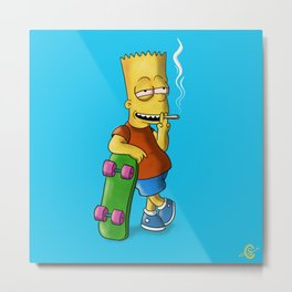 Bart Smoking Metal Print