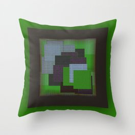 Green Color Geometry Throw Pillow