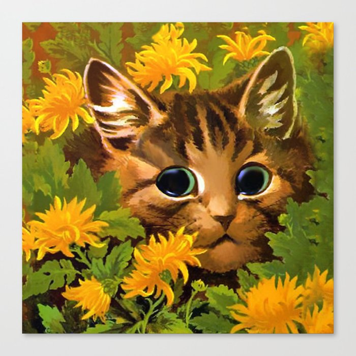"""Louis Wain's Cats """"Tabby in the Marigolds"""" Canvas Print"""