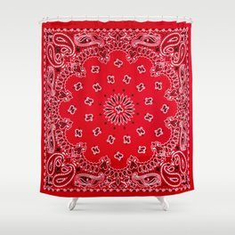 Paisley - Bandana Art - Red - Southwestern Shower Curtain