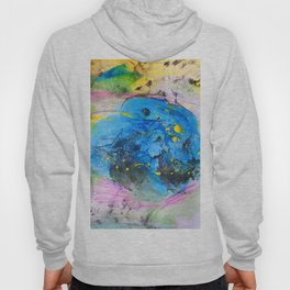 Rustic artistic abstract blue yellow pink watercolor brushstrokes Hoody