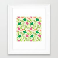 vegetable Framed Art Prints featuring VEGETABLE PARTY! by Claudia Ramos Designs
