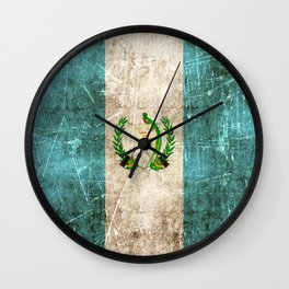Vintage Aged and Scratched Guatemalan Flag Wall Clock
