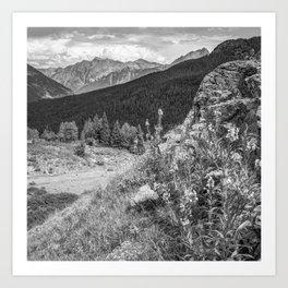 Molas Pass Mountain Landscape - Colorado San Juan Mountains - Monochrome Art Print