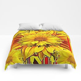 RED & YELLOW  FLOWER DECO MODERN ART Comforters