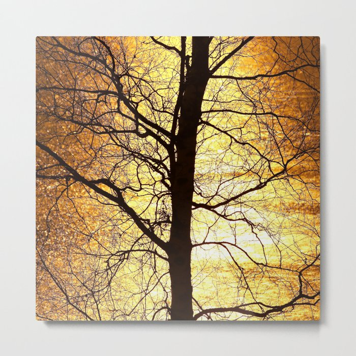 Tree Silhouette At Sunset #decor #society6 Metal Print