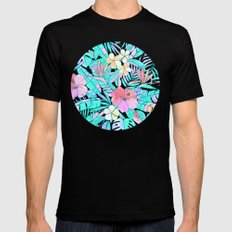 Pretty Pastel Hawaiian Hibiscus Print Mens Fitted Tee Black 2X-LARGE