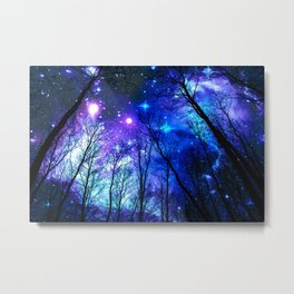 black trees purple blue space copyright protected Metal Print